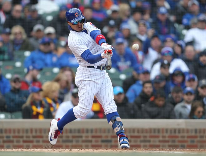 Chicago Cubs second baseman Javy Baez connects on a home run against Pittsburgh last week at Wrigley Field.