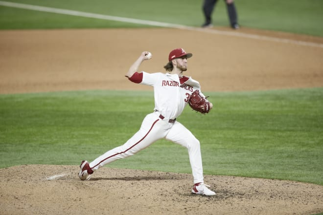 Caleb Bolden earned a four-inning save in Arkansas' win over Texas on Sunday.