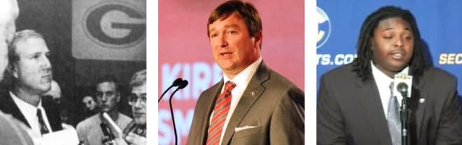 Including from Ray Goff in the early 1990s (left), Jeff Owens in 2008 (right), and Kirby Smart last year (center), the Bulldogs have certainly had their fair share of notable quotes from past SEC Media Days.