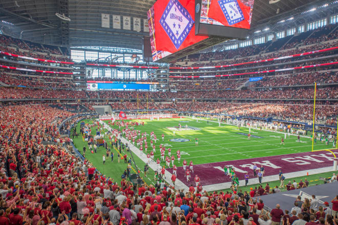 Arkansas and Texas A&M have played at AT&T Stadium nine times in the past 11 seasons.