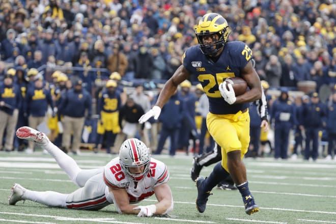 Michigan Wolverines football redshirt sophomore running back Hassan Haskins gained 78 rushing yards on 12 carries in his first start against Ohio State in 2019.