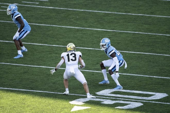 Everything changed for Grimes (20) and UNC's defense late in the Wake game.