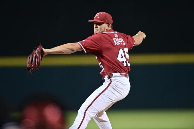 Kevin Kopps earned a four-inning save Saturday against Nebraska.