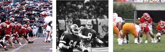 Whether (L to R) against Cincinnati in 1976 (or a few other games that season), Notre Dame in the 1981 Sugar Bowl, Tennessee in 1988, or South Carolina yesterday, among many others, Georgia has a history of routinely winning when hardly passing.