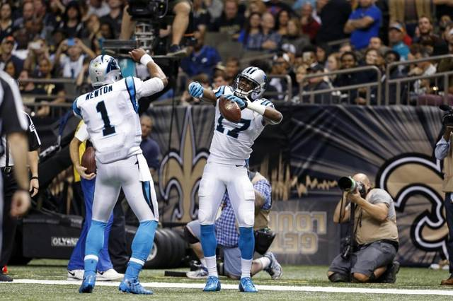 "Cam Newton and Devin Funchess doing the ""Blade Dance"" after a touchdown."