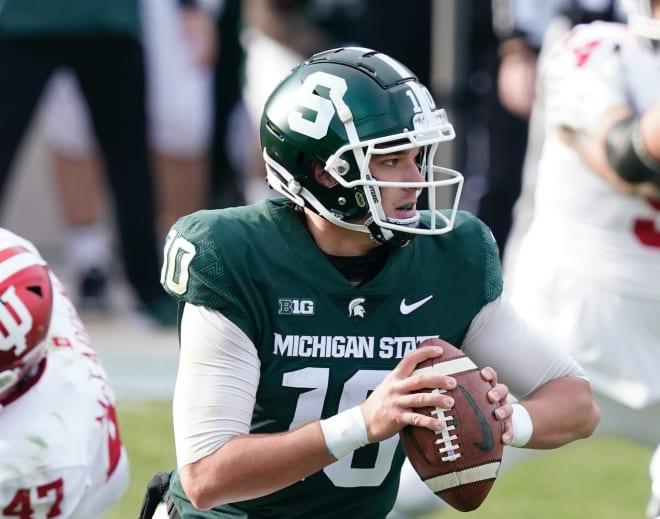 Michigan State Spartans football redshirt freshman quarterback Payton Thorne threw for 6.8 yards per completion last season.