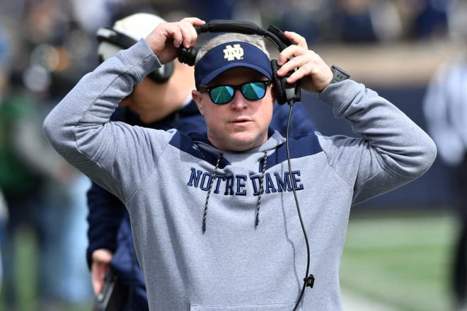Notre Dame Fighting Irish football recruiting and special teams coordinator Brian Polian