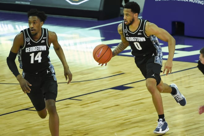 Senior guard Jahvon Blair (No. 0) leads the Hoyas in scoring but has been coming off the bench lately.