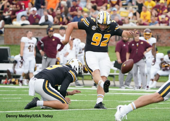 Missouri kicker Harrison Mevis hit a 56-yard field goal on the final adjustment game to force overtime at Boston College.