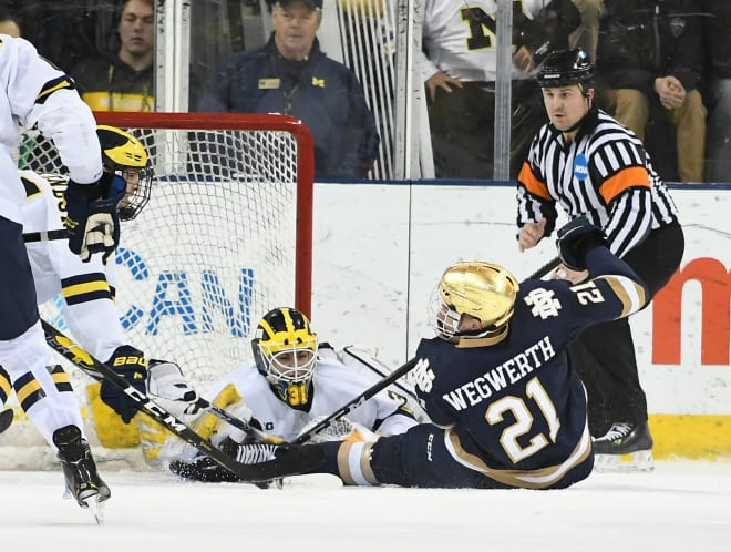 Freshman goalie Strauss Mann led the Wolverines to a victory over No. 8 Notre Dame last weekend with a one-goal, 26-save performance on Friday night.