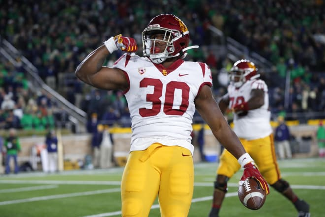 USC transfer running back Markese Stepp logged 100 career carries over the last two seasons for USC.