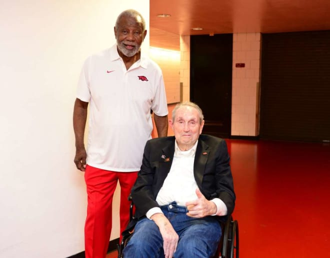 Legendary coaches Nolan Richardson and Eddie Sutton pose for a photo before this year's Red-White game.