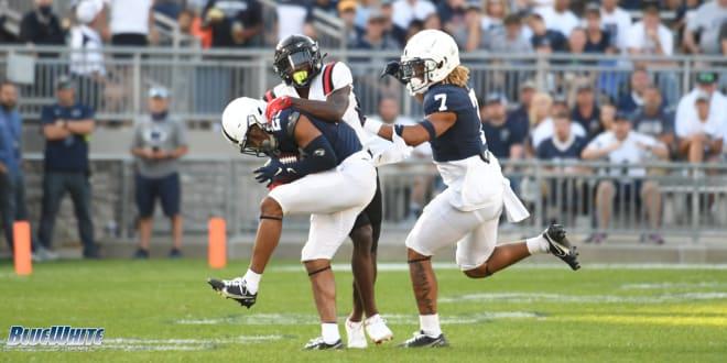 Penn State Nittany Lions football slot corner Daequan Hardy interception