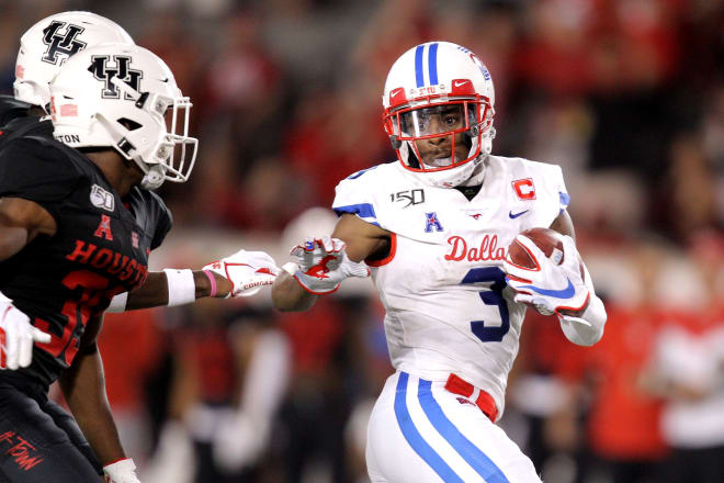 SMU record-setting wide receiver James Proche caught 111 passes for 1,225 yards and 15 touchdowns in 2019.
