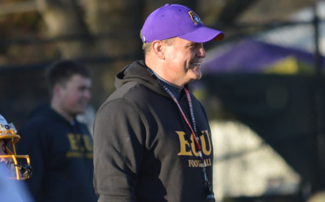 Second year ECU head coach Mike Houston comes away pleased after his team's Thursday practice.