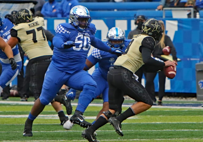 Nose Tackle Marquan McCall forced the Vanderbilt quarterback out of the pocket in last season's meeting between the Cats and Commodores.