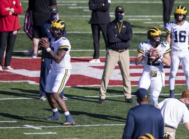 Michigan Wolverines football quarterbacks Joe Milton and Cade McNamara battled for the starting job this week.