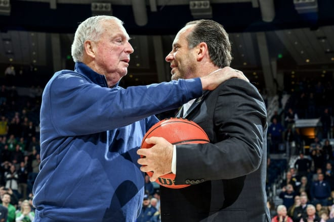 Digger Phelps (left) and  Mike Brey both enjoyed prosperity, but later pain in their long coaching careers at Notre Dame.