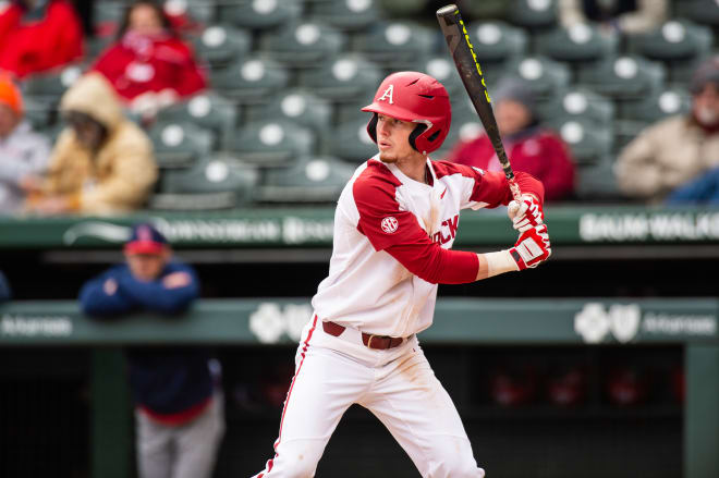 Matt Goodheart hit a home run in Game 2 of Arkansas' 2020 Fall World Series