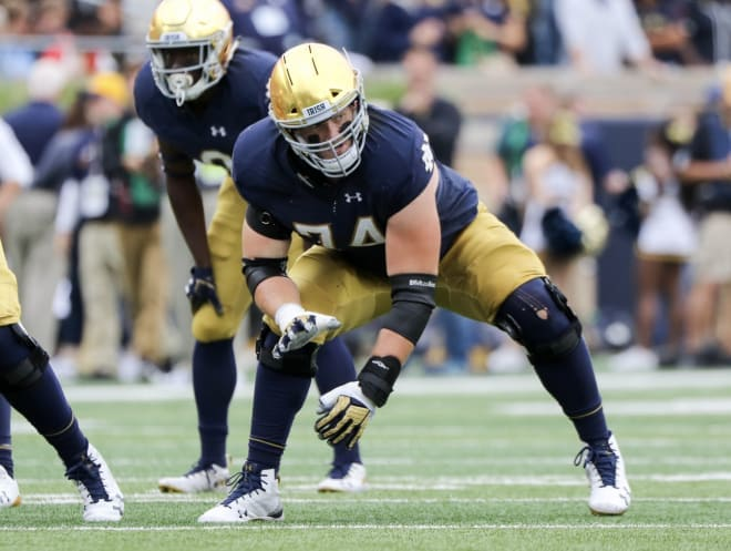 Liam Eichenberg started every game at left tackle for Notre Dame from 2018-20.