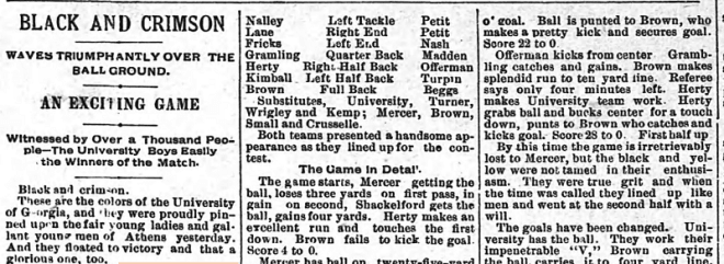 From the Athens Banner, part of the detailed play-by-play of the 1892 Georgia-Mercer game.