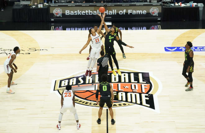 USF and Virginia Tech  tip-off in the AFR Hall of Fame Tip-Off Tournament at Mohegan Sun Arena.
