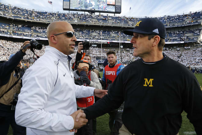 Michigan Wolverines football head coach Jim Harbaugh is 3-2 against James Franklin and the Penn State Nittany Lions.