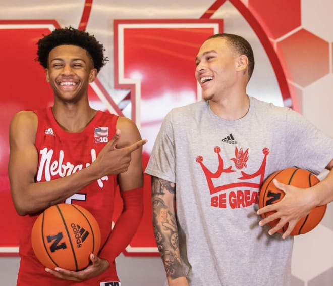 2023 five-star point guard Simeon Wilcher (left) took his first visit to Nebraska this weekend while helping older brother and NU freshman C.J. (right) move to campus.