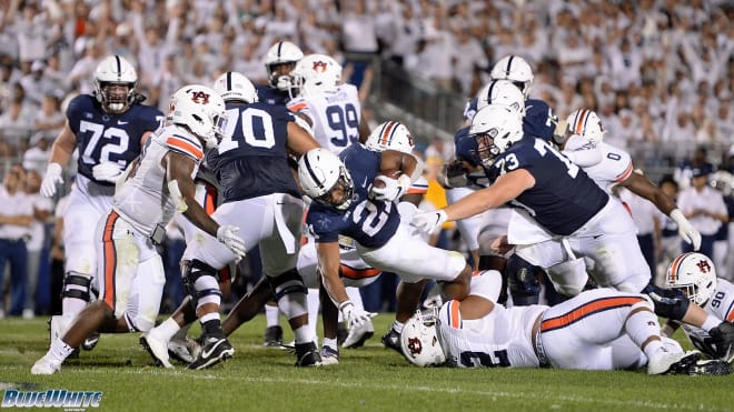 Penn State running back Noah Cain ran for 45 yards and a touchdown in Saturday's 28-20 win over Auburn. BWI photo/Steve Manuel