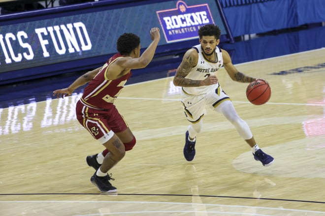 Notre Dame Fighting Irish men's basketball junior guard Prentiss Hubb