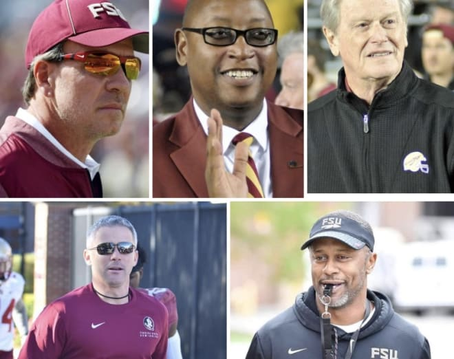Jimbo Fisher (clockwise, from top left), Stan Wilcox, John Thrasher, Willie Taggart and Mike Norvell.