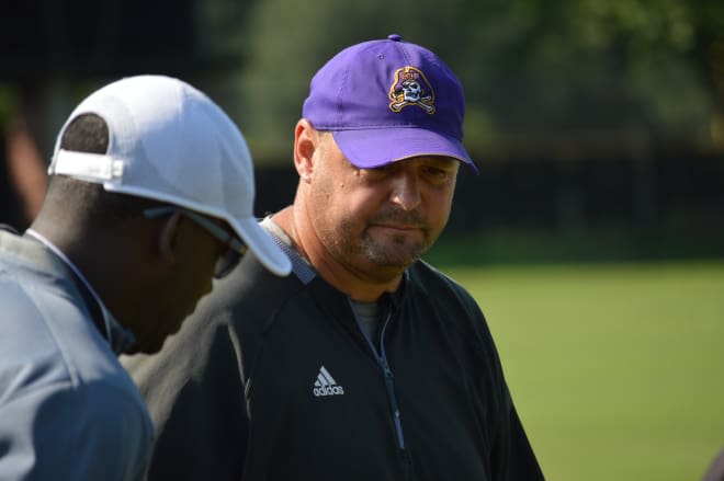 New ECU defensive coordinator David Blackwell took his group through their first day in full pads on Wednesday.
