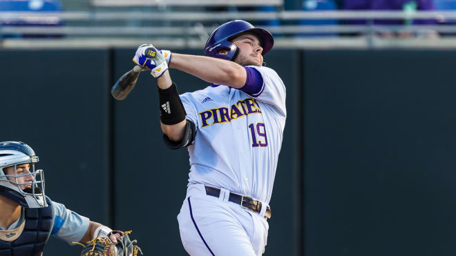 ECU's Alec Burleson collected AAC player of the week honors on Monday.