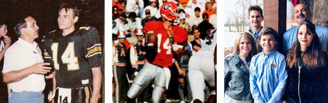 Preston Jones (L to R) confers with his father, assistant coach Wayne Jones, while the quarterback at T.L. Hanna; drops back to pass as a redshirt  freshman against Auburn in 1989; recently with his family in Anderson, S.C.