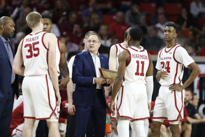 Lon Kruger's Oklahoma team will be without second-leading scorer De'Vion Harmon (11) when it faces Missouri in the first round of the NCAA Tournament on Saturday.