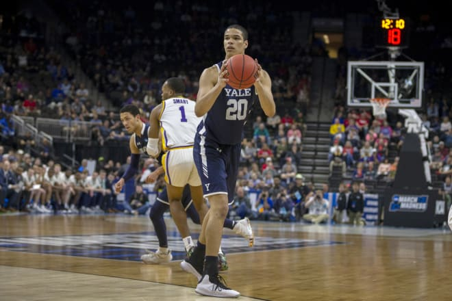 Notre Dame Fighting Irish men's basketball graduate transfer Paul Atkinson during his time at Yale