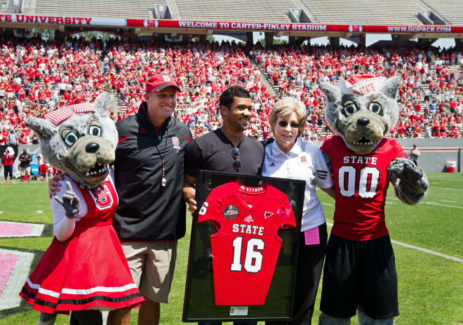 Super-Bowl winning quarterback Russell Wilson's No. 16 is honored by NC State Wolfpack football.
