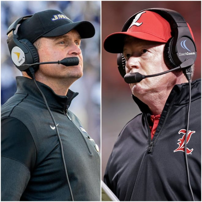 James Madison and coach Mike Houston (left) will visit Louisville and coach Bobby Petrino (right) in 2022.