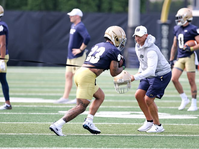 Notre Dame running back Kyren Williams works out on the first day of Irish fall camp.