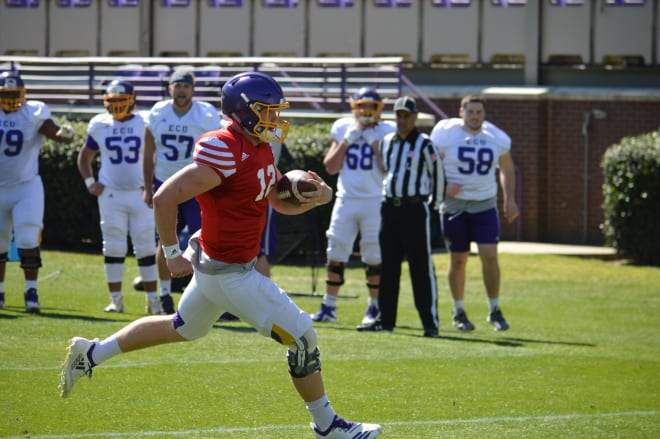 ECU quarterback Holton Ahlers has looking increasingly solid as the month has progressed in spring practice.