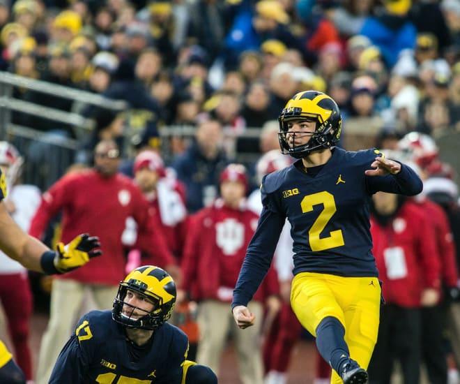 Michigan Wolverines football kicker Jake Moody went 1-for-4 on place kicks last season.