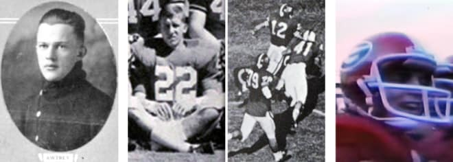 """(L to R): From LITTLE HANKS to LITTLE BILLY (No. 22), resulting in quarterback Preston Ridlehuber's (No. 12) touchdown run vs. UNC to DAVID ARCHER's heroics vs. Georgia Tech, GEORGIA's all-time """"One-Play Wonders""""..."""