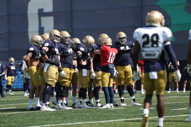 Notre Dame's 2021 offensive line, shown with quarterback Drew Pyne (10) has myriad of options that needed to be sorted out over time.
