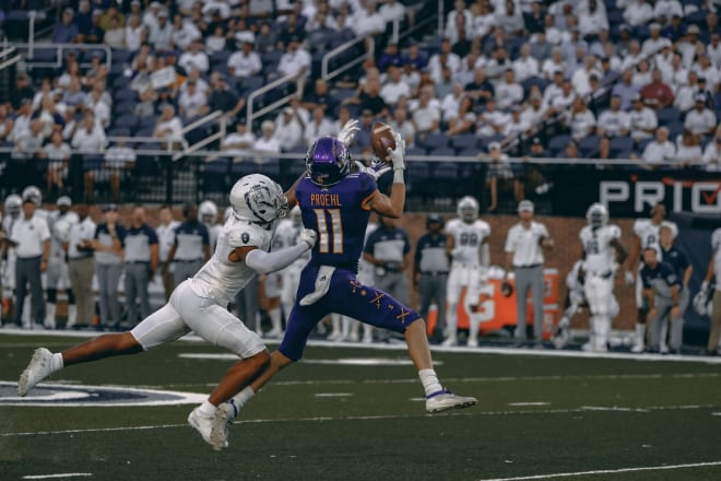 Blake Proehl scores on a 72-yard bomb from Holton Ahlers to give ECU an offensive jump start in the first half.