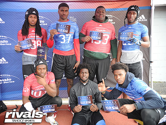 TOP (L TO R): Corione Harris, Justin Rogers, Kardell Thomas, Al'Vonte Woodard.  BOTTOM (L to R): Anthony Cook, Devonta Jason, Terrace Marshall