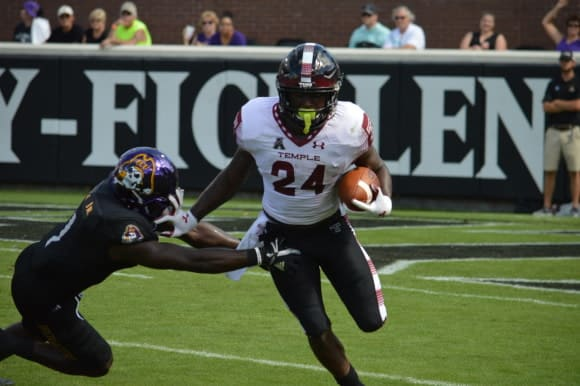 Running back David Hood and Temple came away with a 34-10 win over ECU in Greenville.