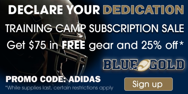 Click the picture to sign up for BlueandGold.com at 25% off PLUS a FREE $75 Adidas gift card. Follow instructions below.