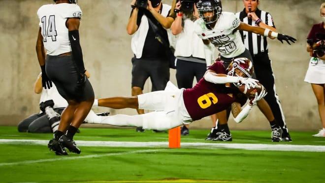 ASU WR LV Bunkley-Shelton scored his first ever ASU touchdown last Saturday (Sun Devil Athletics Photo)