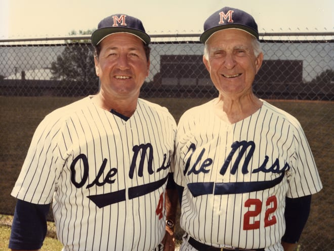 Jake Gibbs (left) and stadium namesake Tom Swayze