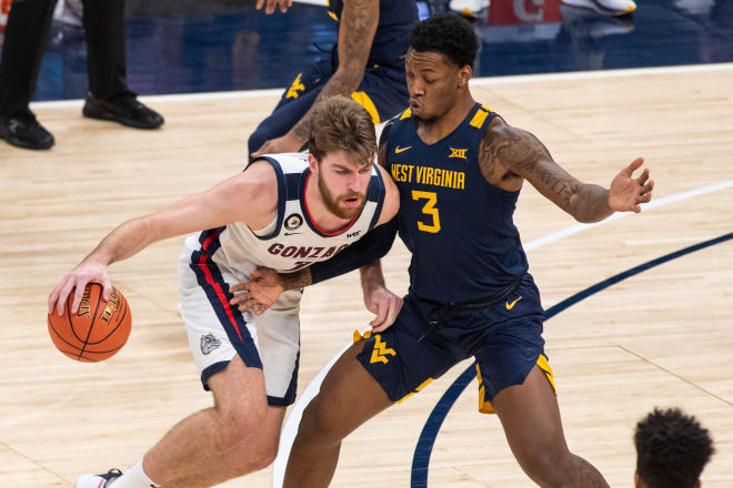 West Virginia's Gabe Osabuohien fouled out during the team's loss to No. 1 Gonzaga on Wednesday.